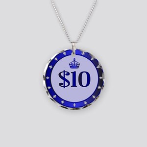 10 Dollar Chip Necklace Circle Charm