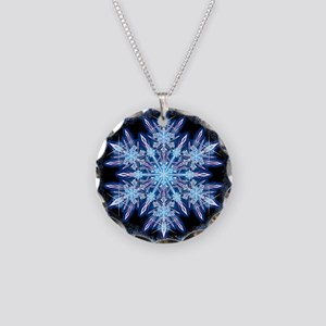 October Snowflake - square Necklace Circle Charm
