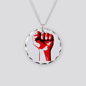 Power Fist Necklace Circle Charm