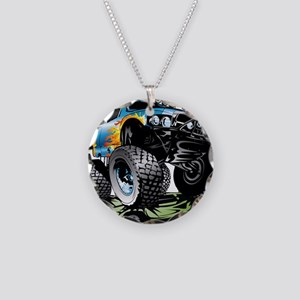 Monster Race Truck Crush Necklace Circle Charm