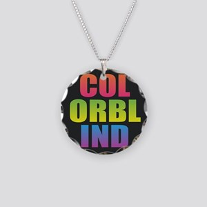 Colorblind Black Rainbow Necklace Circle Charm