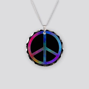 Multicolored Peace Sign Necklace Circle Charm