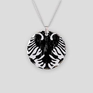 albania_eagle_distressed Necklace Circle Charm