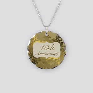 Fancy 40th Wedding Anniversa Necklace Circle Charm