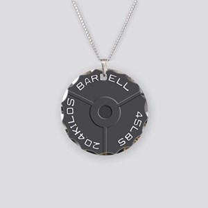 Clock Barbell45lb Necklace Circle Charm