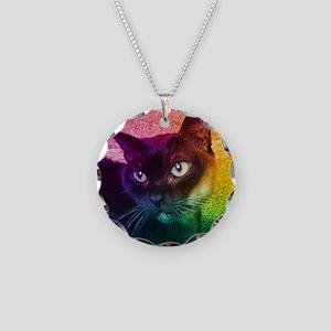 Burmese Cat Portrait B Necklace Circle Charm