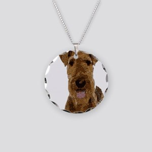 Airedale Painted Necklace Circle Charm