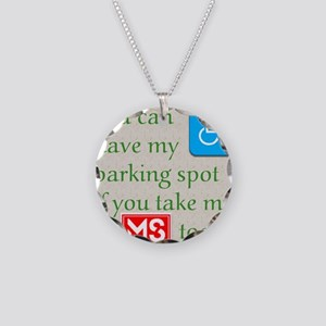 10 x 10 HandicapParking Necklace Circle Charm