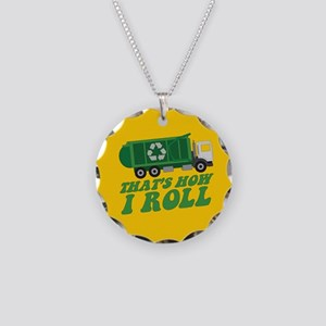 Recycling Truck Necklace Circle Charm
