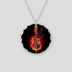 Flaming Guitar Necklace Circle Charm