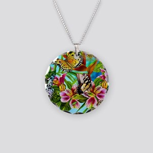 Beautiful Butterflies And Flowers Necklace Circle