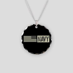 U.S. Navy: Navy (Black Flag) Necklace Circle Charm