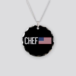 Careers: Chef (U.S. Flag) Necklace Circle Charm
