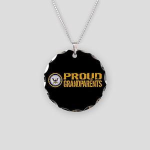 U.S. Navy: Proud Grandparent Necklace Circle Charm