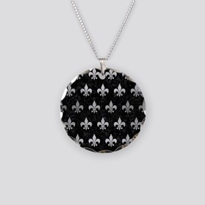 ROYAL1 BLACK MARBLE & SILVER Necklace Circle Charm