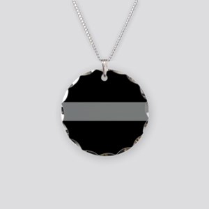 The Thin Grey Line Necklace Circle Charm