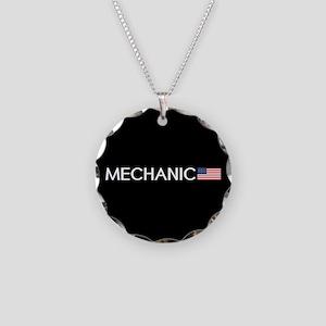 Mechanic: American Flag Necklace Circle Charm