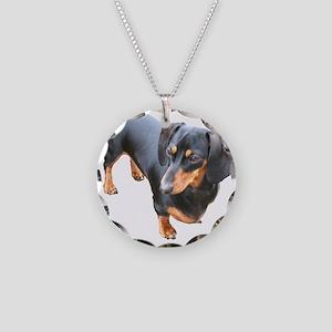 'Lily Dachshund Dog' Necklace Circle Charm