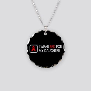 Red Ribbon: Red for my Daugh Necklace Circle Charm