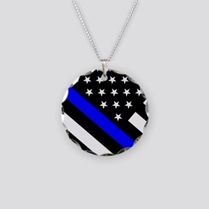 Police Flag: Thin Blue Line Necklace Circle Charm