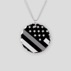 U.S. Flag: The Thin Grey Lin Necklace Circle Charm