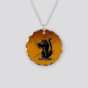Black Cat Evil Angry Funny Character Necklace Circ