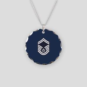 USAF: SMSgt E-8 (Blue) Necklace Circle Charm