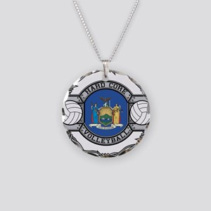New York Volleyball Necklace Circle Charm