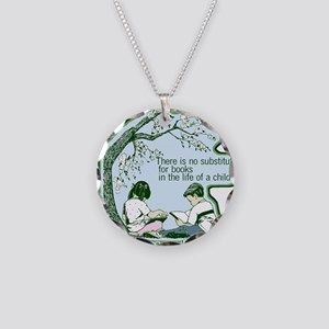 No Substitute For Books Necklace Circle Charm