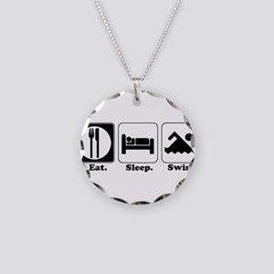 Eat. Sleep. Swim. Necklace Circle Charm