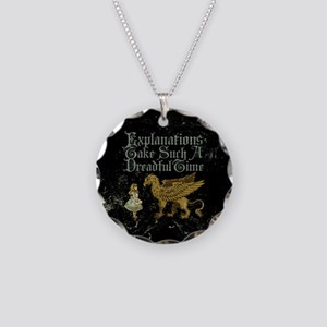 Alice Gryphon Explanations Necklace Circle Charm