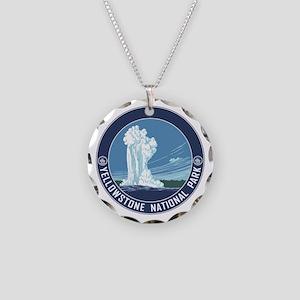 Yellowstone Travel Souvenir Necklace Circle Charm