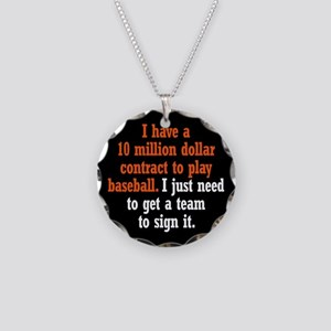 Baseball Contract Necklace Circle Charm