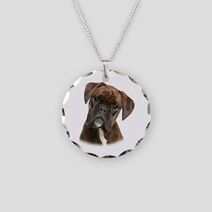Brindle Boxer Necklace Circle Charm