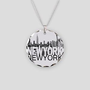 New York Skyline Necklace Circle Charm