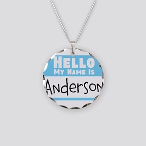 Personalized Name Tag Necklace Circle Charm