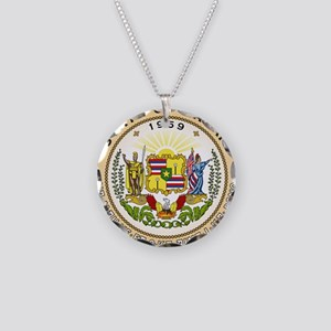 Hawaii State Seal Necklace Circle Charm