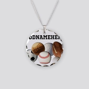 Sports Balls, Custom Name Necklace Circle Charm