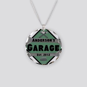 Personalized Garage Necklace Circle Charm