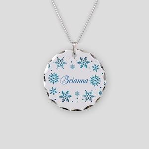 Custom name Snowflakes Necklace Circle Charm
