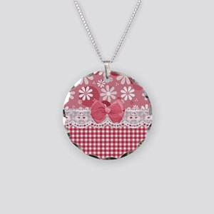 Pretty Pink Gingham Daisies Necklace Circle Charm