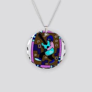 male carrying 5 string bass blue graphic Necklace