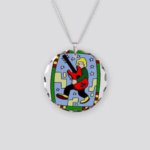 Male carrying 5 string bass graphic Necklace