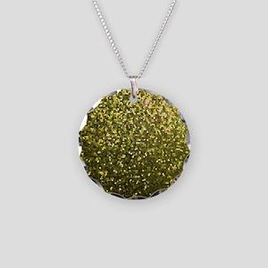 Necklace Circle Charm Gold Mosaic Sparkley 1