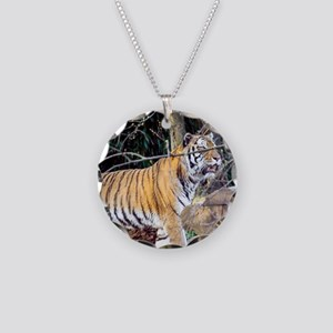 Tiger in the woods Necklace Circle Charm