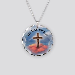 He Has Risen Rugged Cross Wi Necklace Circle Charm