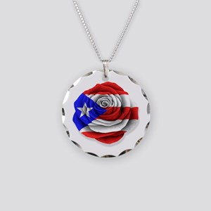 Puerto Rican Rose Flag on White Necklace Circle Ch