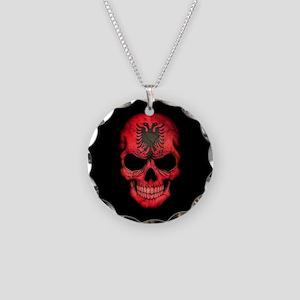Albanian Flag Skull on Black Necklace Circle Charm