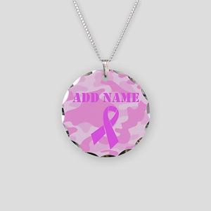 Pink Ribbon Camo Necklace Circle Charm