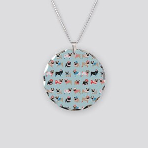 Winter Pugs Necklace Circle Charm